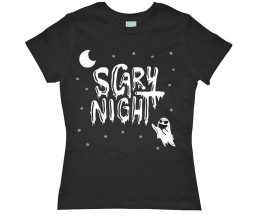 Playera para Dama Scary Night Fantasma Playeras Dama Negro / CH