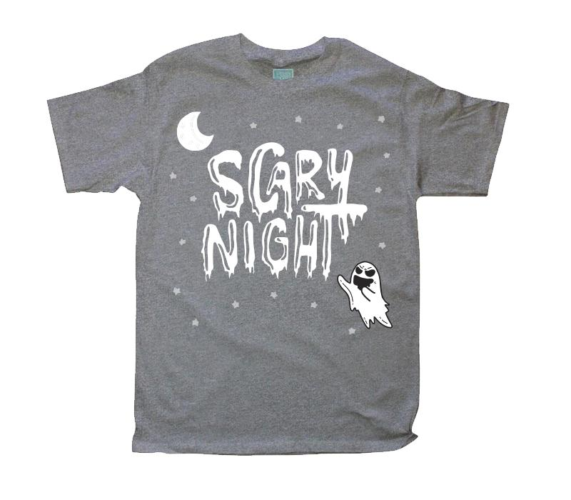 Playera para Caballero Scary Night Fantasma Playeras Caballero Gris / CH