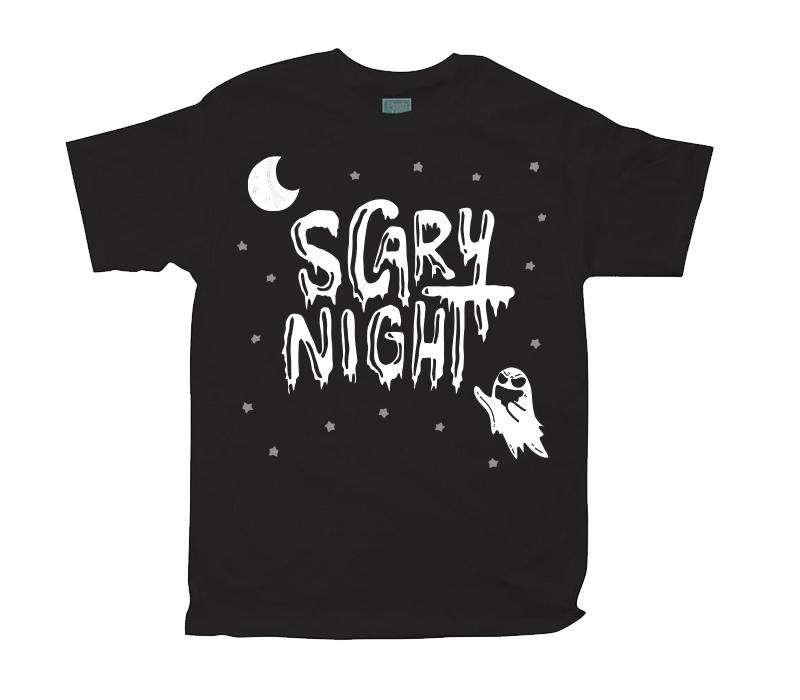 Playera para Caballero Scary Night Fantasma Playeras Caballero Negro / CH