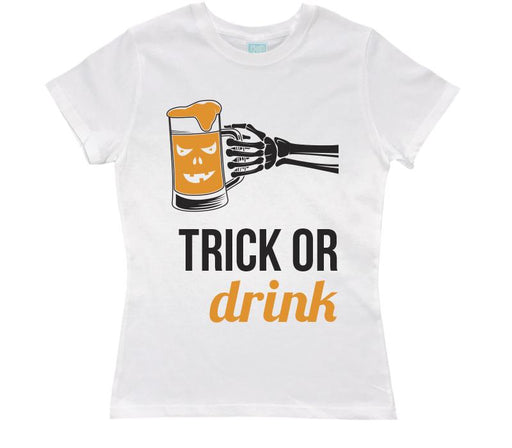 Playera para Dama Trick or Drink Playeras Dama Blanco / CH