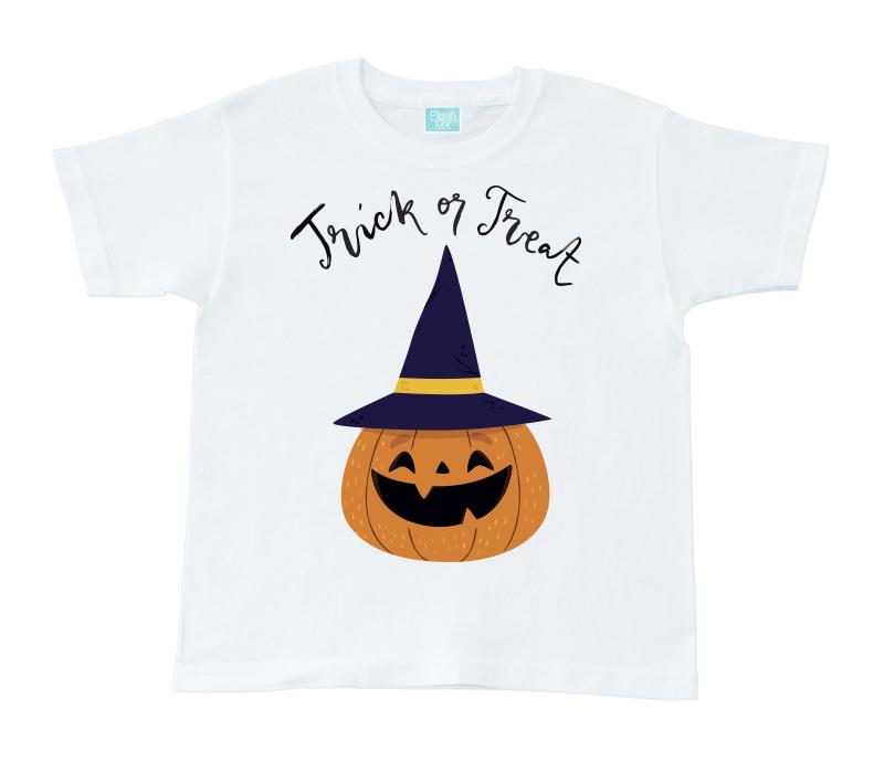 Playera para Niño Unisex Trick or treat Playeras Para Niños Blanco / 1 año