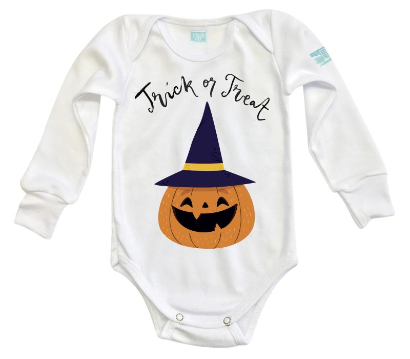 Body Bebe Trick or Treat Pañalero Manga Larga / Blanco / 0m