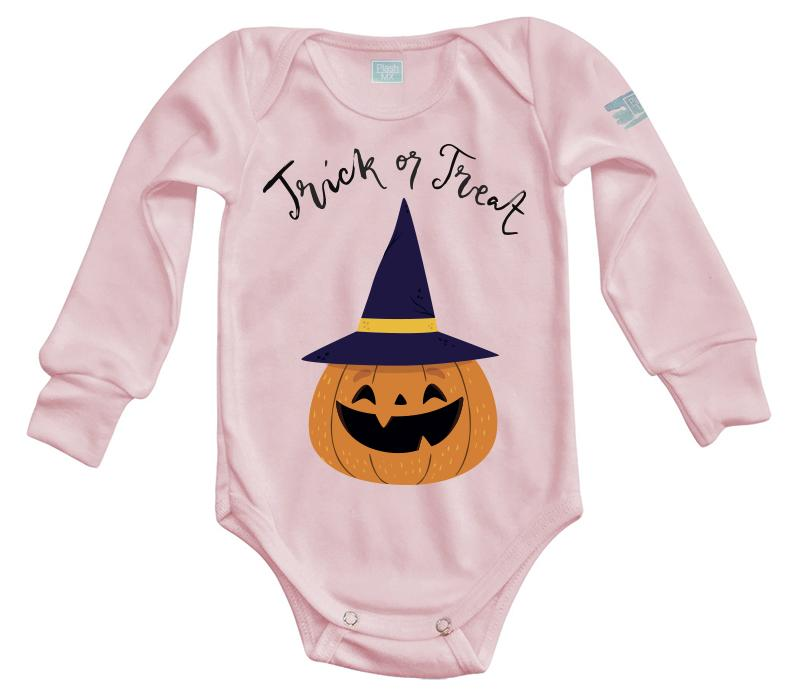 Body Bebe Trick or Treat Pañalero Manga Larga / Rosa / 0m