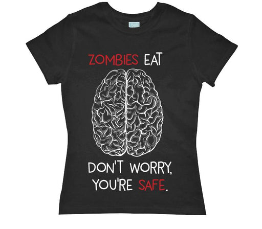 Playera para Dama Zombies Eat Brains Playeras Dama Negro / CH