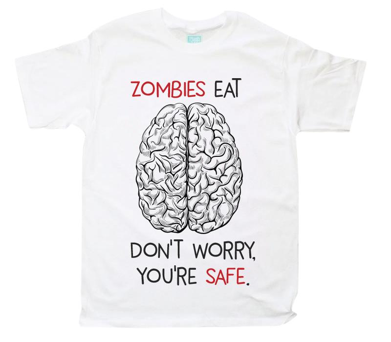 Playera para Caballero Zombies Eat Brains Playeras Caballero Blanco / CH