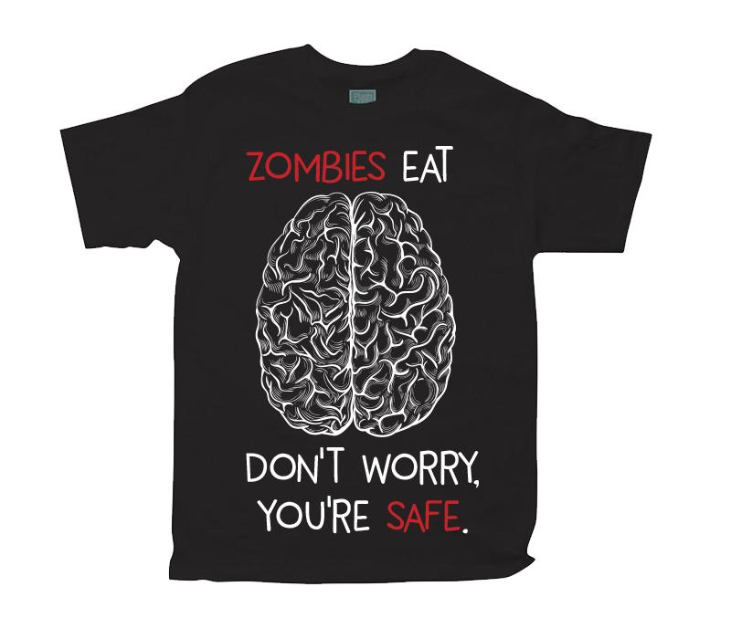 Playera para Caballero Zombies Eat Brains Playeras Caballero Negro / CH