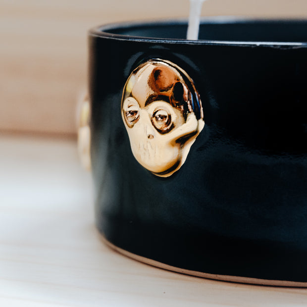 Black & Gold Skull Candle