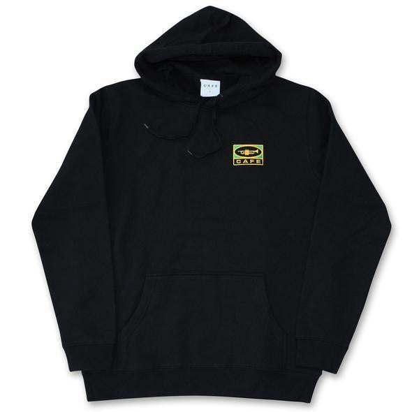 Skateboard Cafe Embroidered Trumpet Logo Hood Black