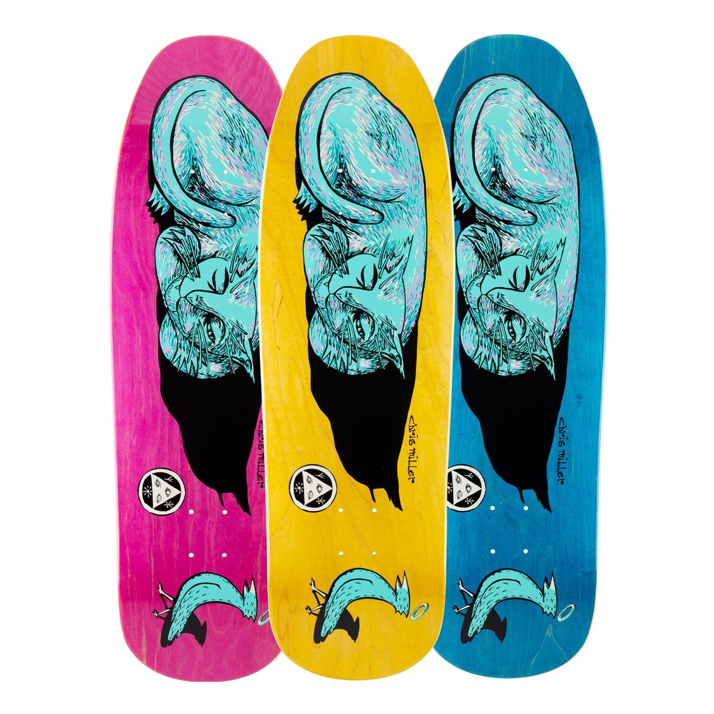 Welcome Skateboards Miller Sleeping Cat on Gaia Deck Various Stains 9.6