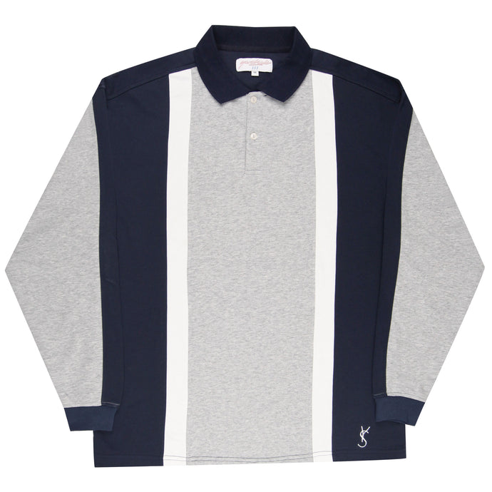 Yardsale Faded Glory Longsleeve Polo Athletic Grey/Navy/White