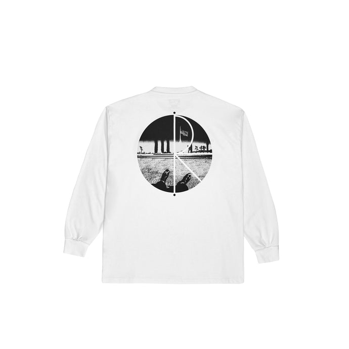 Polar Skate Co Happy Sad Fill Logo L/S T-Shirt White