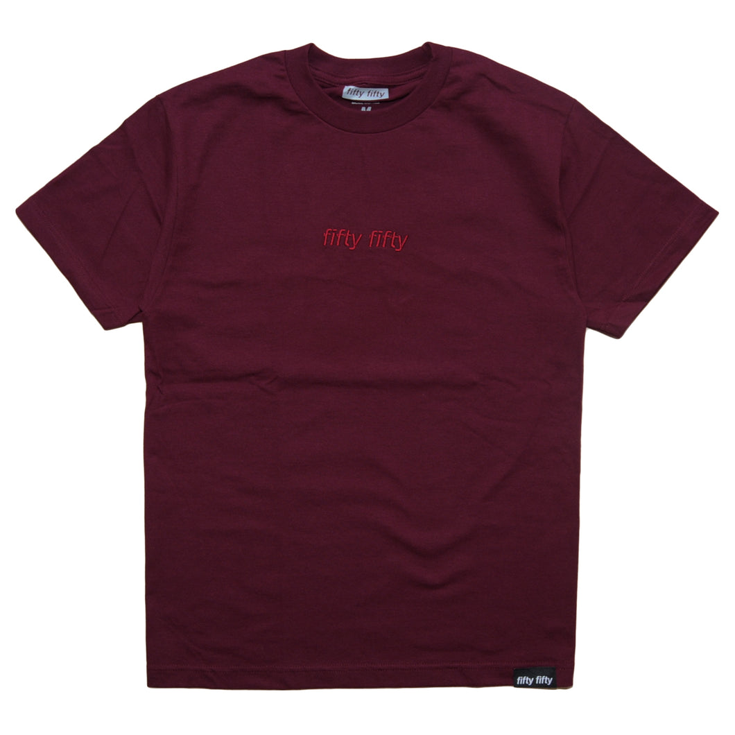 Fifty Fifty Tonal Embroidered T-Shirt Burgundy