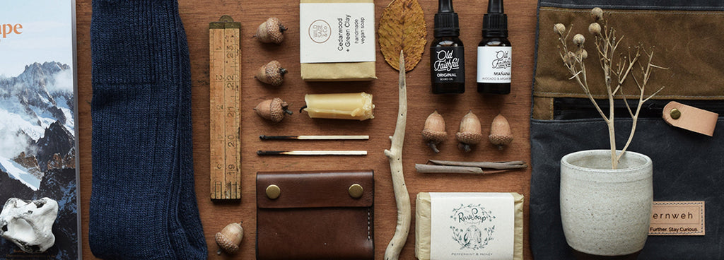 Discover our unique collection of authentic gifts for Him made in the UK, like our 'Brighton Map' signed art prints, handcrafted leather wallets, organic male grooming products by Old Faithful, soft alpaca boot socks, hand thrown ceramic coffee beakers, handcrafted waxed cotton Dopp Kit travel bag and outdoor pouches.