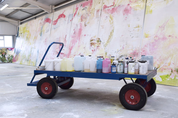 Jessica Zoob's studio, paint trolley, fine art print giveaway