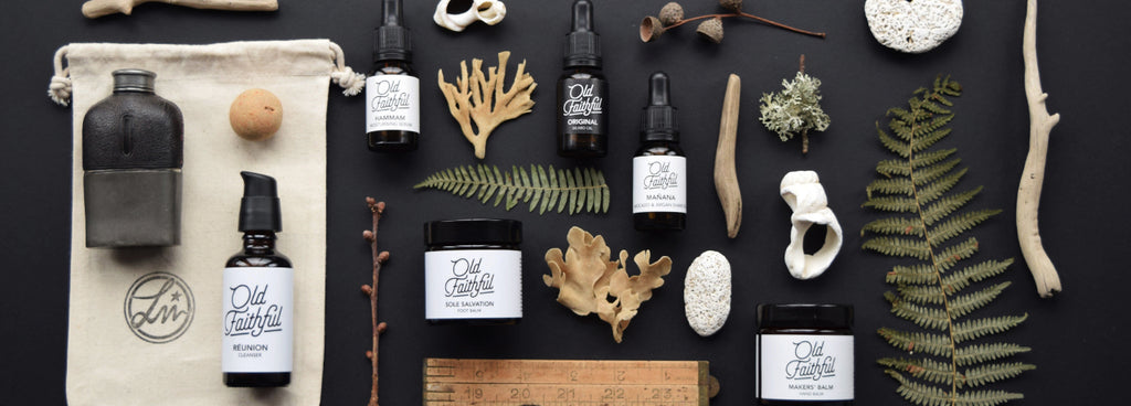 Old Faithful natural organic collection of skincare and male grooming products, hand blended in small batches using only the highest quality cold pressed, unrefined, natural ingredients and essential oils. Available from Lewes Map Store.