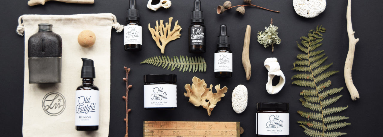 Natural organic skincare and male grooming products hand blended in Whales by Old Faithful.