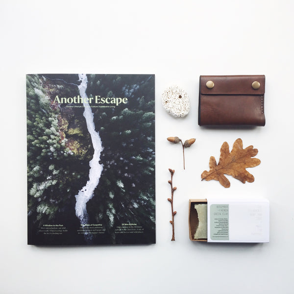Unique Christmas presents 'For Him' including Another Escape issue nine, handcrafted leather wallet and handmade soap