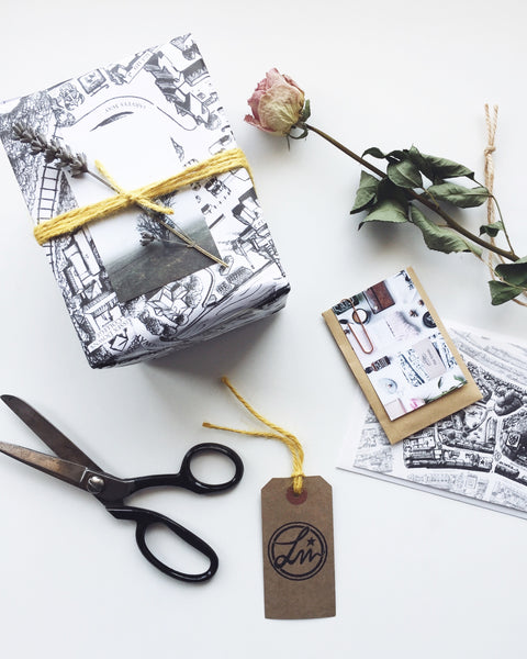 Every order will be carefully gift wrapped, using our uncoated recycled paper printed with vegetable oil based inks, jute twine and biodegradable washi tape. All our packaging is completely plastic free.