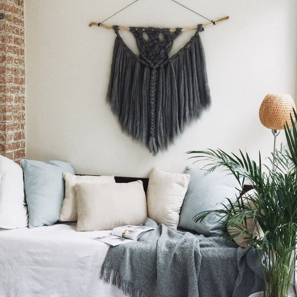 Wall hanging made from merino wool by Nest & Burrow. Love the grey colour.
