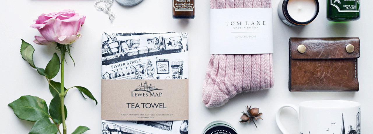 Lewes Map tea towel, tom lane alpaca bed socks made in the UK, sail handmade mens wallet, essence & alchemy candle, Lewes Map Store