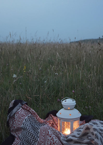 Lewes Map Store, Summer picnic on the South Downs, dusk, lit lantern