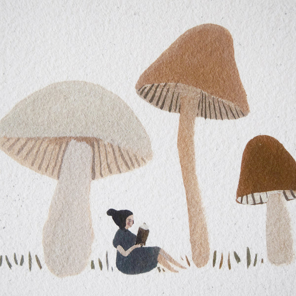 'A Quiet Place to Read' by Gemma Koomen is a  high quality Giclee print featuring one of her beautiful illustrations painted in gouache and ink.