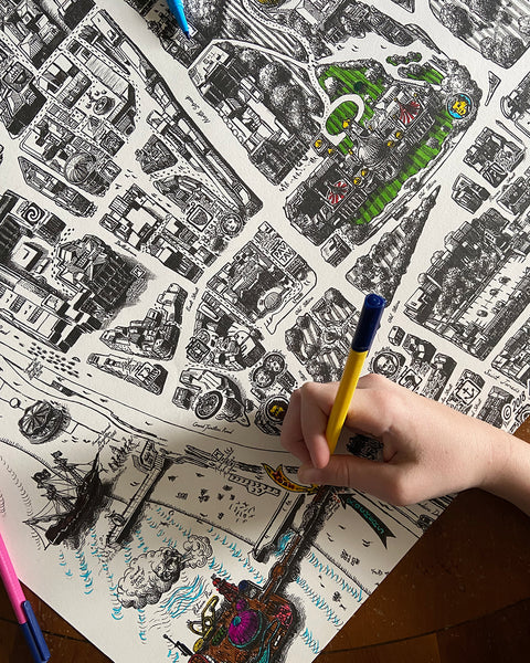 COLOUR IN BRIGHTON!  A beautiful colouring poster featuring a section of our manuscript style Brighton Map, hand drawn by Sussex artist Malcolm Trollope-Davis.