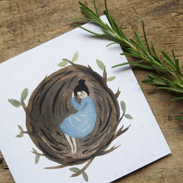 'Asleep in a Nest' by Gemma Koomen is a greeting card printed in the UK featuring one of her beautiful illustrations painted in gouache and ink.