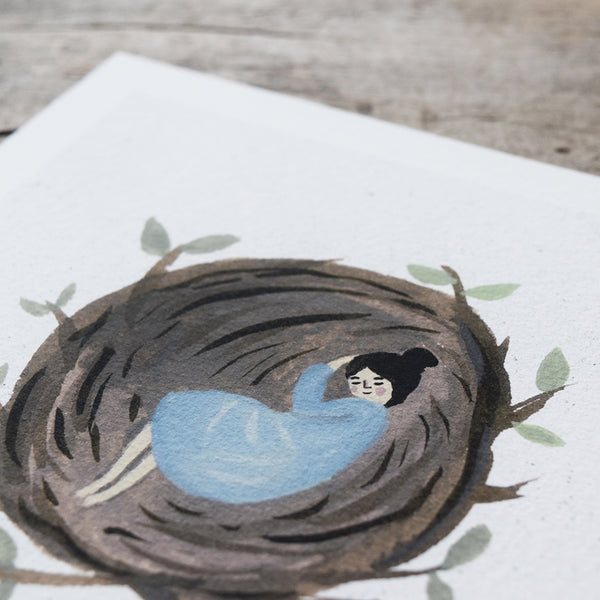 'Asleep in a Nest' by Gemma Koomen is a  high quality Giclee print featuring one of her beautiful illustrations painted in gouache and ink.