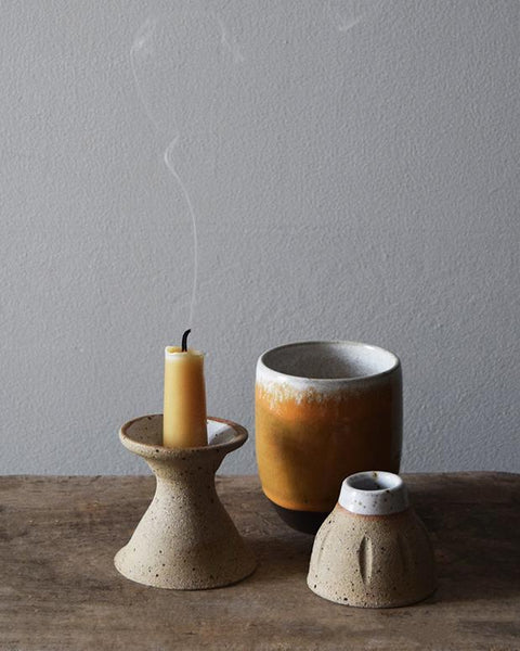 Handmade ceramic candle holder | Hand thrown in a studio in East London, each of these beautiful speckled clay candle holders is unique.