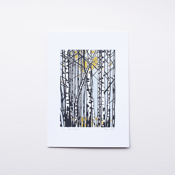 Birch Forest is a Nordic style inspired print by Anna Vartiainen. It's a handmade 3-colour screen print of Silver Birch trees in a limited edition of 30.