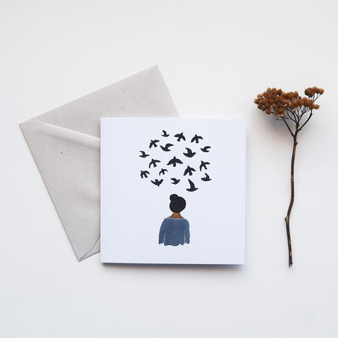 'Bird Thoughts' by Gemma Koomen is a greeting card printed in the UK featuring one of her beautiful illustrations painted in gouache and ink.
