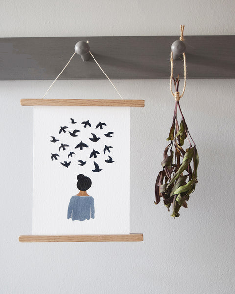 'Bird Thoughts' by Gemma Koomen is a  high quality Giclee print featuring one of her beautiful illustrations painted in gouache and ink.