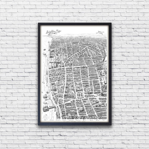 'Brighton Map' is a hand drawn manuscript style map available as a signed A0 art print, created by Sussex artist Malcolm Trollope-Davis. The map includes images indicating key historical moments in Brighton along with a high level of geographical accuracy that makes it a useful navigation tool.