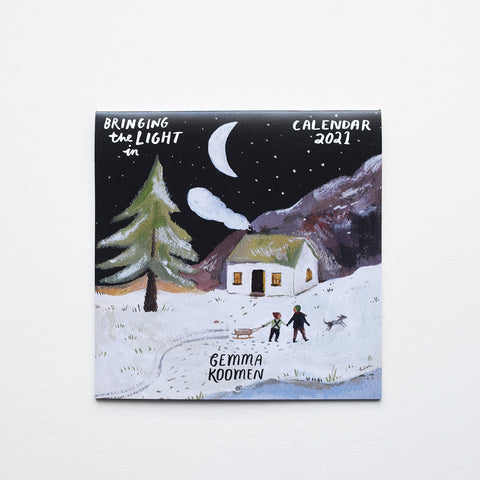 Bringing the Light in 2021, a beautiful 12 months calendar by illustrator Gemma Koomen with the theme of 'bringing the light in'.