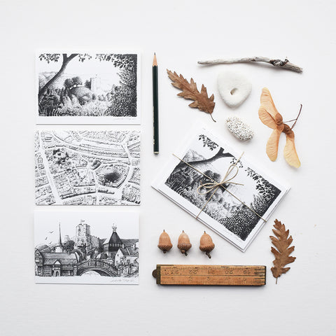 This set of greeting cards features three of the original pencil drawings; 'Lewes Map', 'Lewes Town Montage' and 'Lewes Castle' by Malcolm Trollope Davis.