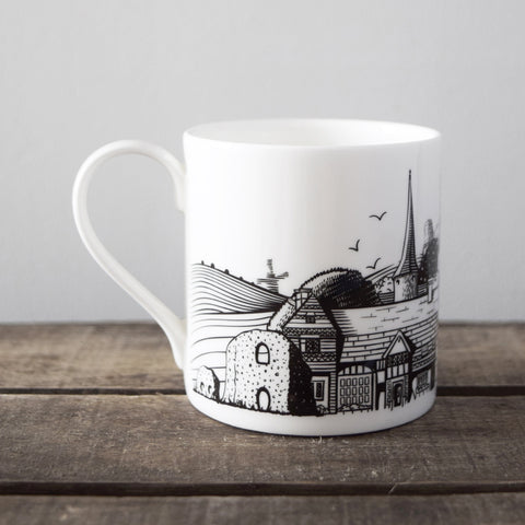 Lewes Map fine bone china mug, made in Stoke-on-Trent, England, with a design illustrated by Malcolm Trollope-Davis.