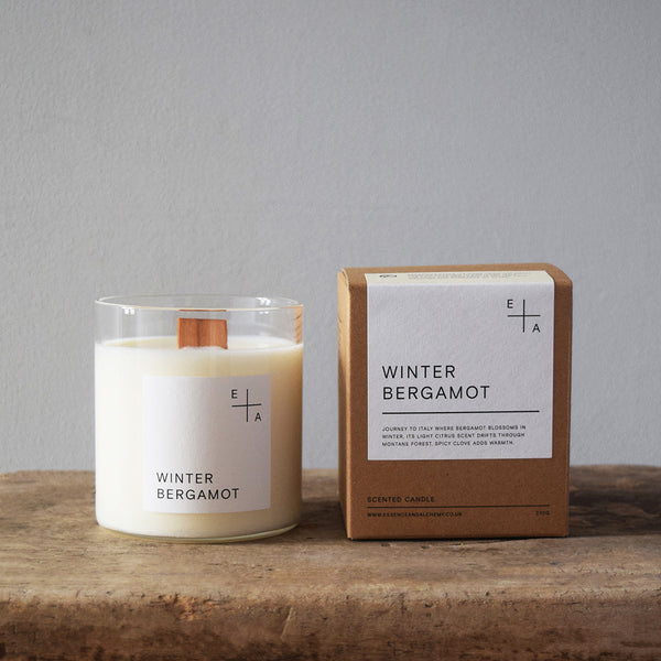 Winter Bergamot, a botanical aromatherapy candle by Essence and Alchemy, 100% natural, sustainable and eco-friendly. Candles are hand-poured in a British made re-usable mouth-blown glass beaker with a wooden wick.