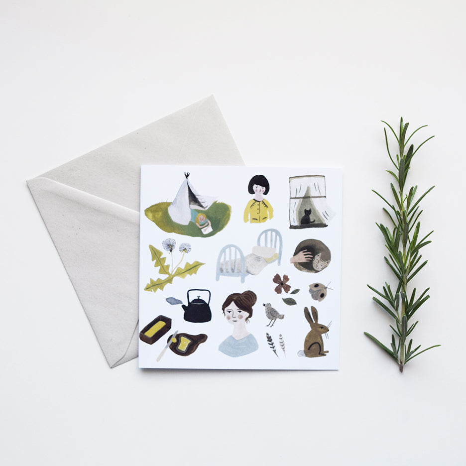 'Gentle Day' by Gemma Koomen is a greeting card printed in the UK featuring one of her beautiful illustrations painted in gouache and ink.