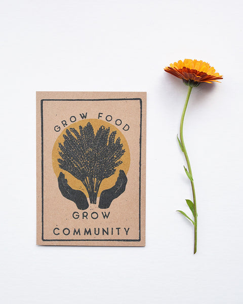 A beautiful set of postcards featuring mini prints hand carved from original linocut and woodcut prints by Rosanna Morris. The postcard designs include 'Diversity', 'Sunflower', 'The Revolution is Fertile' and 'Grow Food Grow Community'.
