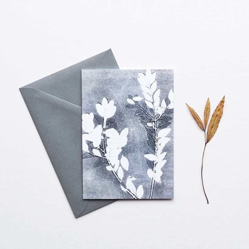 'Midnight Garden III' by heraldBLACK is a greeting card featuring one of the original monoprints from the 'Midnight Garden' range.
