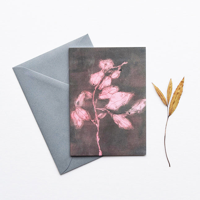 'Midnight Garden I' by heraldBLACK is a greeting card featuring one of original monoprints from the 'Midnight Garden' range.