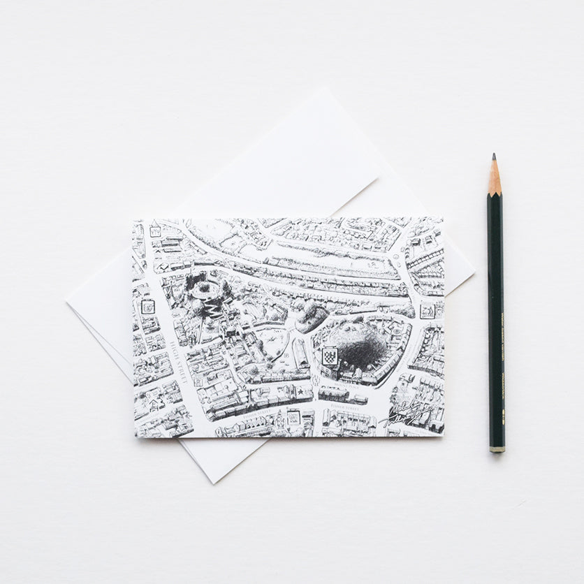 'Lewes Map' greeting card features a section of the original pencil drawings of the Lewes Map by Malcolm Trollope Davis.