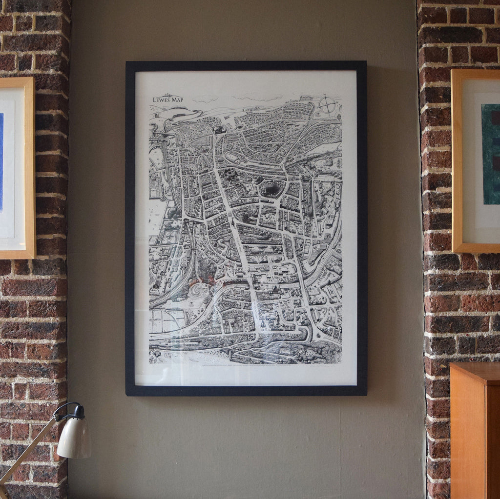 This is a Lewes Map limited edition print hand drawn by Malcolm Trollope-Davis.