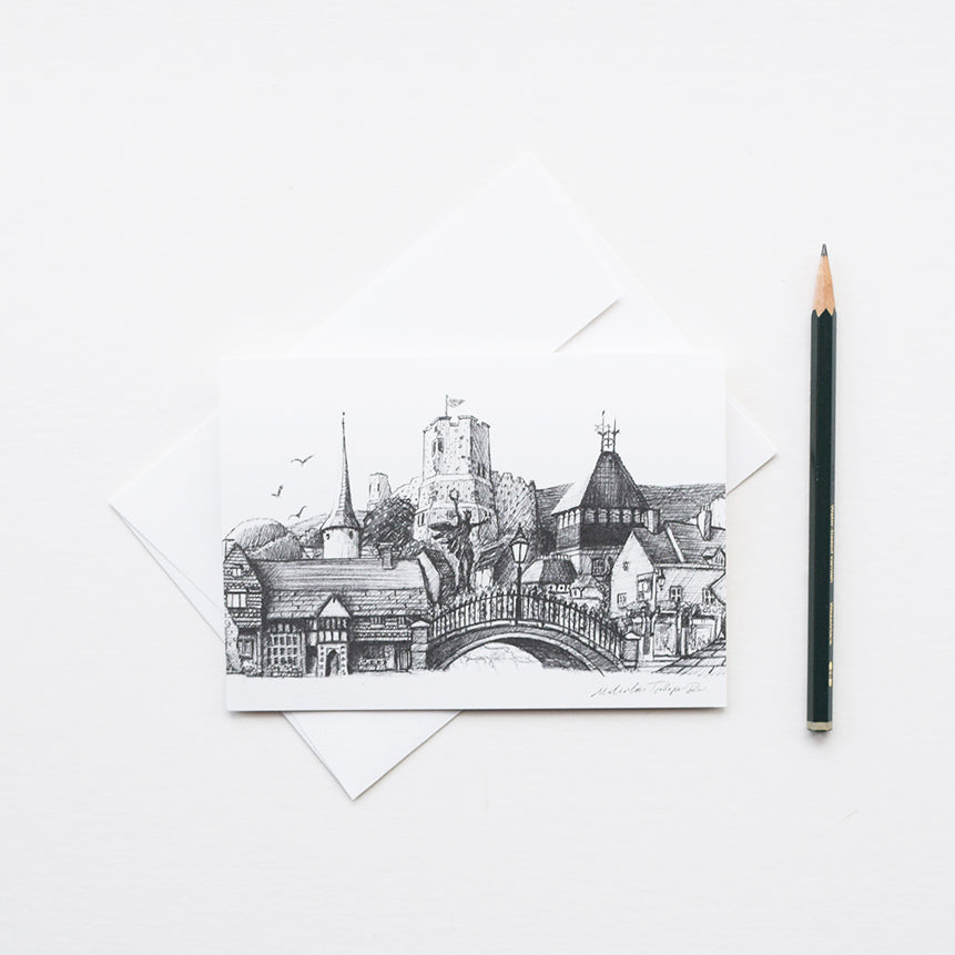 'Lewes Town Montage' is a greeting card featuring one of the original pencil drawings by Malcolm Trollope Davis.