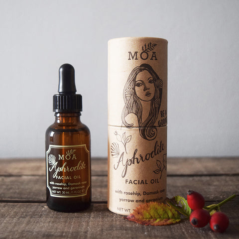 Aphrodite Facial Oil by Magic Organic Apothecary, MOA London, is a 100% natural and organic skincare product made in the UK.
