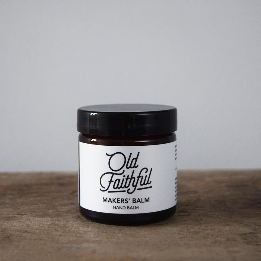 The Makers' Balm by Old Faithful is a 100% natural rich balm, hand blended in small batches, which moisturises, protects and heals.