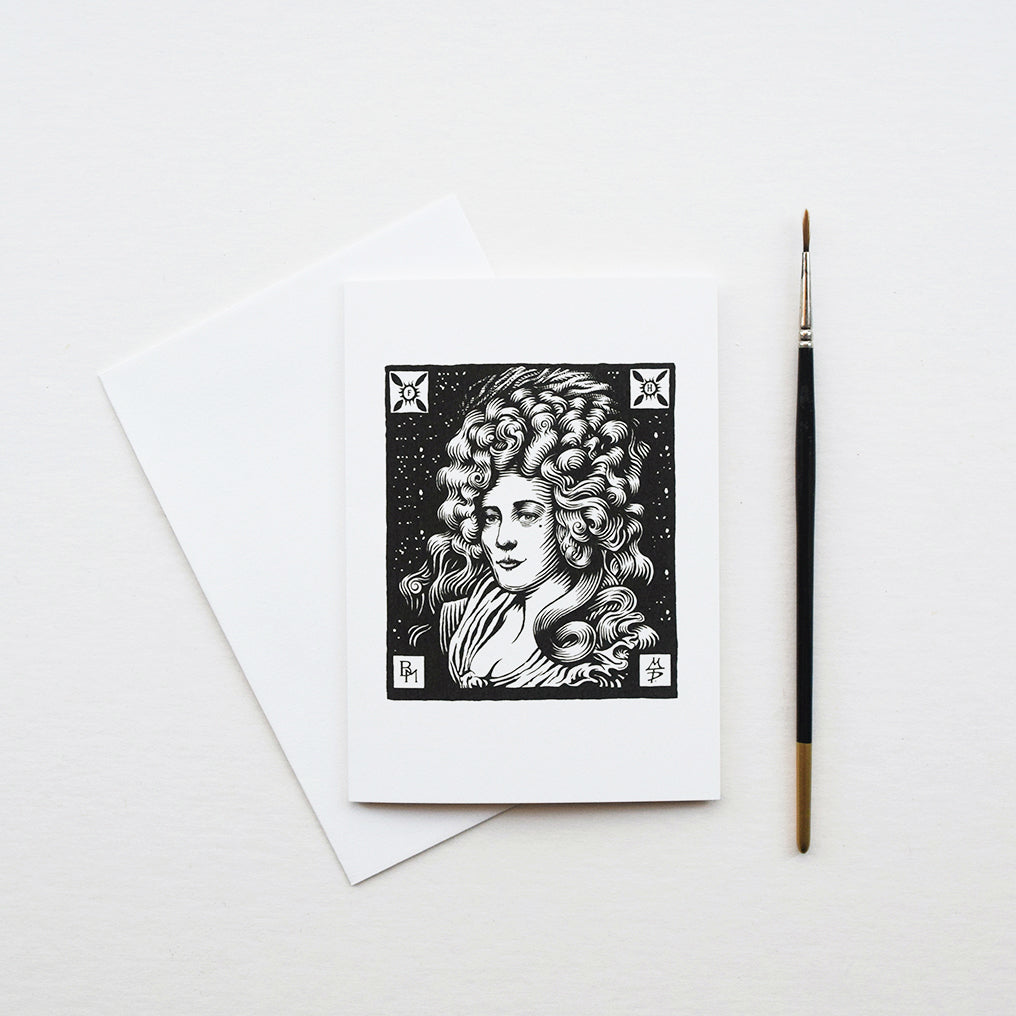 A beautiful greeting card of Mrs Fitzherbert, a character hand drawn in a traditional woodcut style of illustration by Malcolm Trollope-Davis inspired from an icon image from his recently completed Brighton Map. Printed on thick card in Sussex, England, each A6 comes with an envelope.