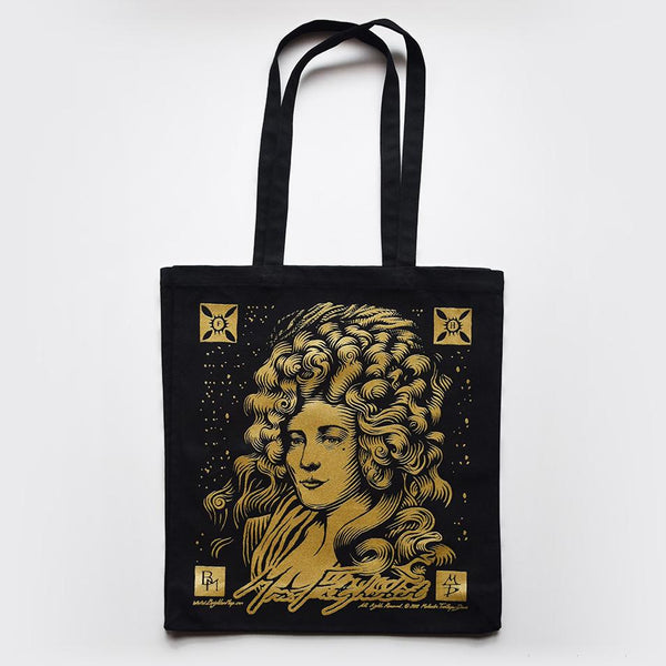 Large Canvas Tote Bag in Black with a Gold Screen Print of Mrs Fitzherbert.
