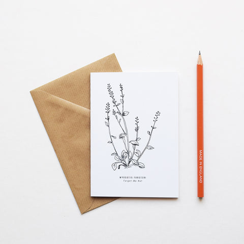 Inspired by Victorian botanical illustrations and vintage apothecary style this beautiful Forget-Me-Not drawing is one of a set of eight greeting card designs. It is printed on a crisp white background and comes with a craft envelope.